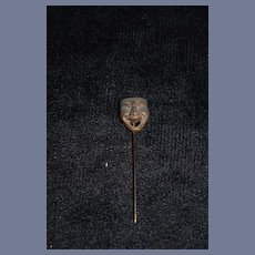 Vintage Miniature Metal Face Mask Hat Pin 2.5 inches