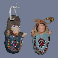 Two Miniature Babies In Leather American Indian Beaded Moccasins