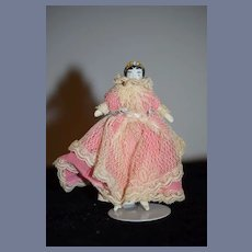 Antique Doll Miniature China Head Dollhouse Dressed 4 1/4 inches
