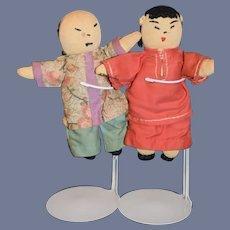 Vintage Two Stockinette Oriental Cloth Dolls