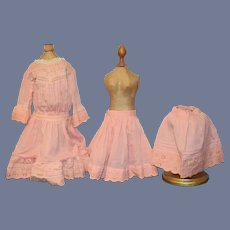 Wonderful Old Doll Dress W/ Fancy Undergarments Eyelet Lace French Market