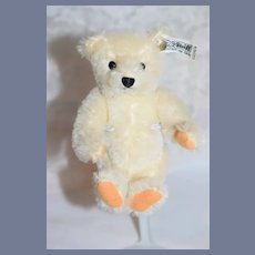 Vintage Steiff Petite Teddy Bear Button Tag White Jointed Mohair 0204/16