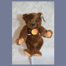 Miniature Vintage Steiff Chocolate Teddy Bear W/ Button Tag and Chest Tag