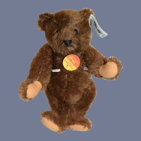 Miniature Vintage Steiff Chocolate Teddy Bear W/ Button Tag and Chest Tag