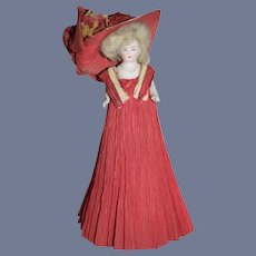 Antique All Bisque Miniature Dollhouse Doll Jointed Fancy Crepe Clothing and Fancy Doll Hat