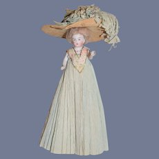 Antique Miniature All Bisque Jointed Dollhouse Fancy Crepe Clothing