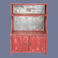 Old Painted Wood and Tin Doll Cabinet Shelves & Doors