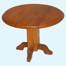 Vintage Doll Wood Round Pedestal Table Fashion Doll Size