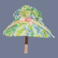 "Cute Vintage Small Blue And Green Butterfly Print Doll Hat  5.5"" circumference"