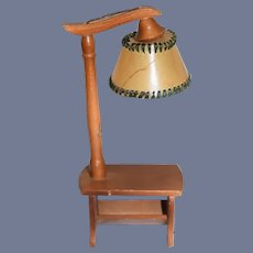"""Vintage Dollhouse Small Wood Bench Lamp Electrified 6"""""""