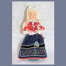 Old Tagged Sweedish Sweeden Svensk Slojd Cloth Painted & Wood Doll  - 9""