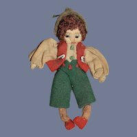 Old Miniature Stitched Cloth Doll 3.5""