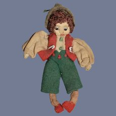 "Old Miniature Stitched Cloth Doll 3.5"""