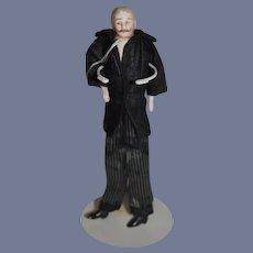 "Antique German Dollhouse Bisque Man Doll Mustache 7"""