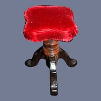 Vintage Dollhouse Miniature Red Velvet Covered Stool 1.5""