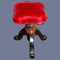 """Vintage Dollhouse Miniature Red Velvet Covered Stool 1.5"""""""