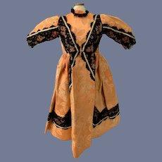 Vintage Doll Dress Hand Made Fancy W/ Black Lace