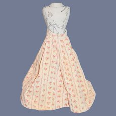 Vintage Doll Skirt Floral W/ Train Fashion Doll Size