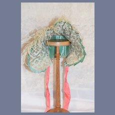 Vintage Large Blue Aqua Flower Print Doll Bonnet