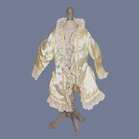 Vintage Light Yellow Silk and Linen Lined Doll Coat Jacket