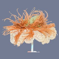 Beautiful Orange Feather Lace and Straw Doll Hat