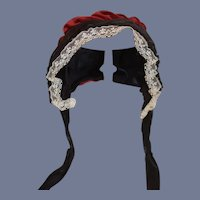 Vintage Red Velvet And Black Satin Doll Bonnet