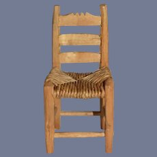 Vintage Hand Carved Miniature Wooden Chair 4 inches