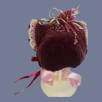 Vintage Beautiful Red Velvet Doll Bonnet