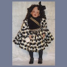 "Vintage L.D.B. Black Porcelain Doll "" Tameka"" Original Tag"