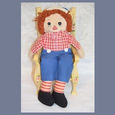 Old Raggedy Andy Cloth Doll Unusual Sewn on Features Rag Doll
