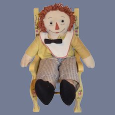 Sweet Vintage Cloth Doll Raggedy Andy Button Eyes Sewn Features