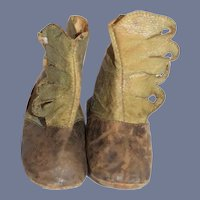 Antique Green Leather And Brown Suede Side Button Doll Boots 4 inch