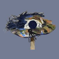 Vintage Beautiful Blue Feather Multi-Colored and Beaded Doll Hat