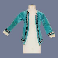 Vintage Beautiful Teal Blue Velvet Doll Jacket 6 inches