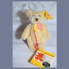Vintage Miniature Mohair Teddy Bear Steiff W/ Button Tag and Chest Tag Booklet