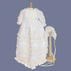 Vintage Doll Long Dress w/ Matching Bonnet Lace Sweet