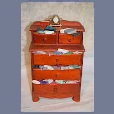 Vintage Doll Sewing Cabinet W/ Clock Chest For Doll Display Miniature Fabric