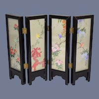 Vintage Oriental Wood & Glass Framed Hinged Folding Screen Miniature Dollhouse