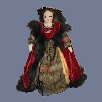 Old Cloth Doll Anne Boyle Wife of Henry VIII of England Signed