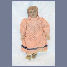 Vintage Artist Signed Oil Cloth Doll Charming Jennifer Motta