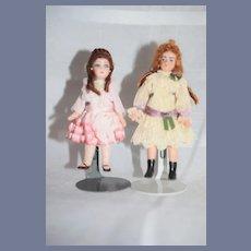 Vintage Lot of Two Miniature Artist Dollhouse Dolls
