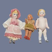 Mixed Lot Doll Miniature All Bisque Antique and Artist