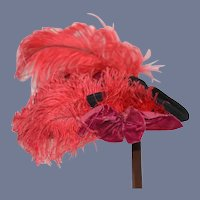 Vintage Felt Hat W/ Fancy Feathers Velvet Bow Tricorn