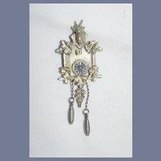 Vintage Miniature Pewter Artist Made Cuckoo Clock W/ Deer Head Dollhouse