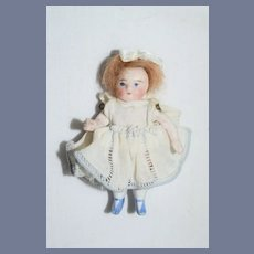 Antique Doll Miniature All Bisque Jointed Arms Dollhouse French Market