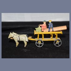 Old Wood Erzberg Miniature Wood Doll Figures & Old Trucks and Carriages LOT Dollhouse