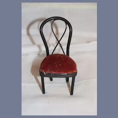 Old Bentwood Little Black And Red Dollhouse Chair