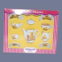 Vintage Roehler Porzellan-Miniatur Teddy Bear Teapot Set