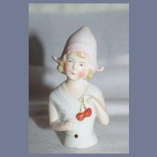 Anitque Dutch Half Doll Pin Cushion Blonde Doll 3 inches
