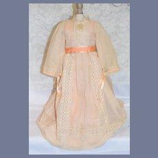 "Vintage Cream Long Sleeve Doll Dress With Peach Satin Slip Dress 20.5"""